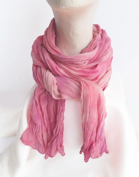 "Pink chiffon scarf, crinkle chiffon, silk, Valentine's Day gift, February, blush pink, lavender, hand dyed, large, 17"" x 74"", blush violet"