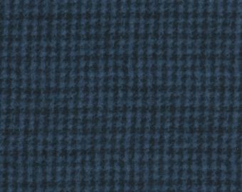 Maywood Woolies Medium Blue Houndstooth Plaid FLANNEL Fabric BTY