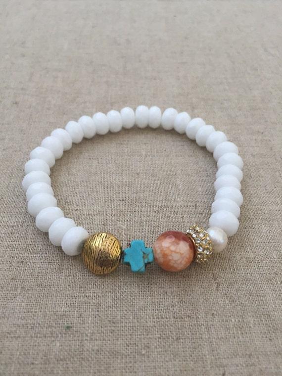 beaded bracelets stacking bracelets stretch bracelets white