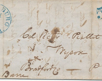 1849 Stampless Folded Letter With Blue 5 And Harrisburg Pennsylvania Cancel Mailed to Bradford Pa