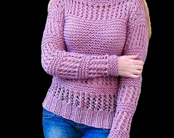 Knit sweater.Pink sweater.Womens clothing.Hand knit sweater.Woman sweater