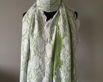 Pistachio Cashmere Blend Lace Wrap