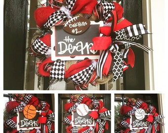 Multi-Sport Burlap wreath // Football Wreath // Basketball Wreath // Baseball Wreath // Volleyball // High school wreath // Interchangeable
