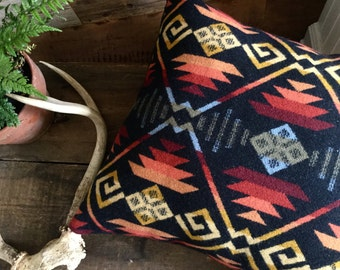 Tribal Accent Pillow , Boho Pillow in Pendleton Wool, Decorative Pillow Cover, Geometric Pillow, Southwestern Pillow, Navajo Pillow