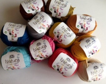 Lot of 11 balls of cotton crochet Natura DMC just cotton