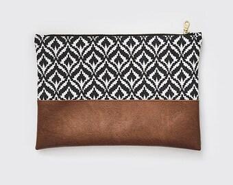 Ikat Pattern Clutch | Vegan Cognac Leather