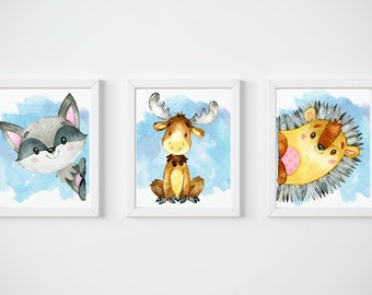 Woodland Creatures Nursery Prints, Set of Three Instant Download, PrintableNursery Decor Bundle, Nursery Art, 8x10 Digital Prints