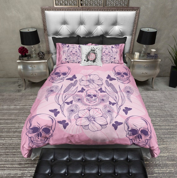 Lightweight pink and purple skull comforter cover by - Purple and pink comforter ...