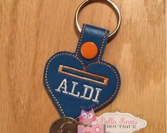 Aldi keychain, aldi quarter keeper, aldi key chain, Aldi heart, aldi keyfob, I love Aldi,aldi love, Aldi, key fob, key chain, quarter holder