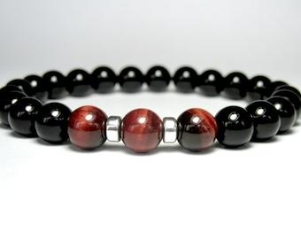 Black Onyx and Red Tiger Eye Bracelet, Mens Beaded Bracelet, Gemstone Bracelet, Stretch Bracelet, Onyx Bracelet, Tiger Eye Bracelet