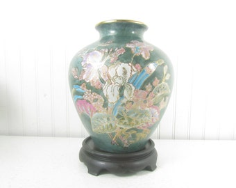 Asian vase and stand, vintage vase ,Asian design, ceramic vase, floral vase, green vase, flower design