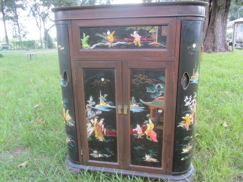 Black Lacquer Asian Bar Cabinet Oriental Bar Cabinet Vintage