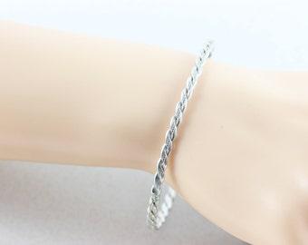 Sterling Silver Bangle braided Bracelet  Womens