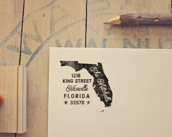 Florida Return Address State Stamp - Personalized Rubber Stamp