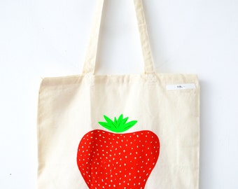 Tote bag with strawberry illustration