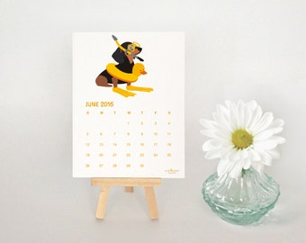 2016 Desk Calendar, Illustrated Daschunds