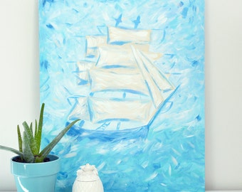 "Blue ship original acrylic painting 20"" x 24"" on stretched canvas"