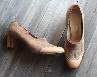 1950s Vintage J. Pruitt Spectator Heels/ 50s J. Pruitt Suede Heels/ Vintage J. Pruitt Heels