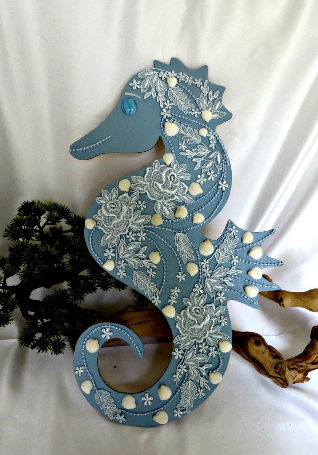 blue seahorse wall decor beach home beach by carmelascoastalcraft. Black Bedroom Furniture Sets. Home Design Ideas