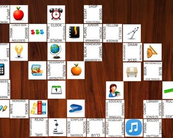 Magnetic School Connections Game - 120 Word and Image Cards