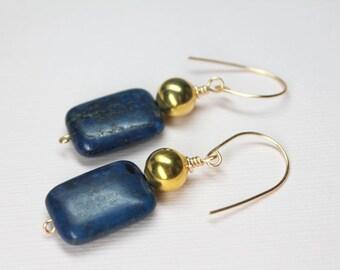 Blue Lapis Lazuli Earrings, Gold Lapis Drop Earrings, Large Lapis Gemstones, Simple Modern Earrings, Royal Blue Dangle Earrings