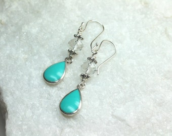 Blue Turquoise Earrings, Turquoise and Silver Teardrops, Crystal Turquoise Drop Earrings, December Birthstone