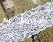 """2 Yards - 3"""" - WHITE Wide Stretch Elastic Lace Vintage Lace Headbands - DIY Lace Headbands,  Many Colors to Choose"""