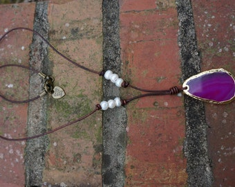 Natural stone Necklace - Freshwater Pearl Necklace