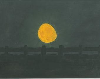 "Oil Giclee Art Print - Harvest Moon - 8X10"" - Limited Prints"