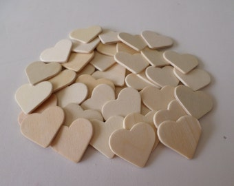 42 Unfinished wood hearts, ready to decorate, wood shapes, wood hearts, unfinished wood