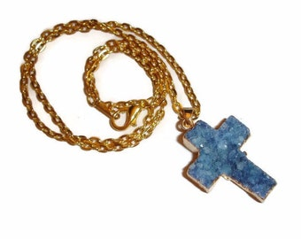 Cross Necklace Druzy cross necklace blue cross necklace gemstone cross gemstone necklace druzy necklace gold necklace Religious jewelry Gift