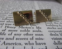 Art Deco ANSON CUFF LINKS Signed Pat Pend Gold Tone Circa 1950's Men's Collectible Gifts Groomsmen Best Man Anniversary Birthday
