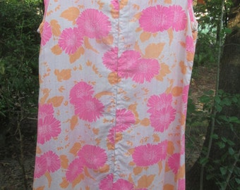 60s floral shift dress, handmade, mediuym size