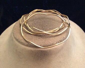 Vintage Lot Of 4 Goldtone Wave Designed Bangle Bracelet