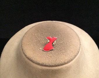 Vintage Enameled Red Dress Tac Pin