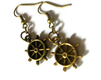 Ship's Wheel Earrings, Antiqued Bronze, Pirate, Gifts for Her, Gifts for Women, Nautical Jewelry, Handmade Jewellery