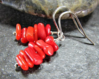 Red Coral Earrings, Natural Coral Branch Earrings, Sterling Silver / Rose Gold Filled, Drop Dangle Earring, Ocean Beach Jewelry Gift for Mom