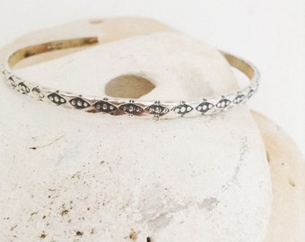 Sterling silver cuff bracelet - cuff bangle - hand patterned - hallmarked