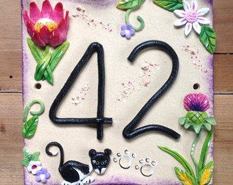 House number sign, address number plaque, Ceramic, Thistles and Protea Flowers Design