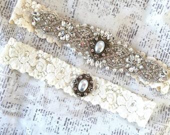 Ivory Wedding Garter, Ivory Bridal Garter, Ivory Garter Vintage, Wedding Garter Vintage, Ivory Lace Garter, Pearl Garter, Vintage Garters