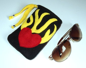 Red yellow and black soft fleece sunglasses case pouch bag, handsewn, flame and heart design, great for cosmetics, coins, medicines, gifts