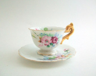 Miniature Teacup Set, Doll Teacup Set, Mini Teacup Set, Floral Teacup Set Pink and White Teacup Set Vintage Teacup Set, Mini Teacup & Saucer