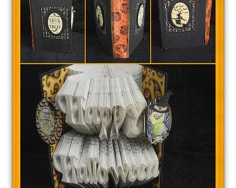 "Hand Folded Book Art - ""Happy Halloween"""