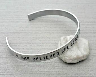 Aluminium hand stamped, personalised open cuff bangle