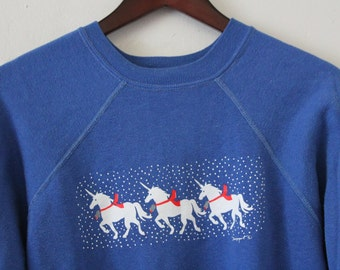 Women's MEDIUM Vintage 1980s Unicorns Soft and Comfortable Graphic Pullover Sweatshirt