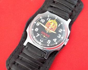 Soviet Old stocks Antique function wrist watch POBEDA NKVD #v738