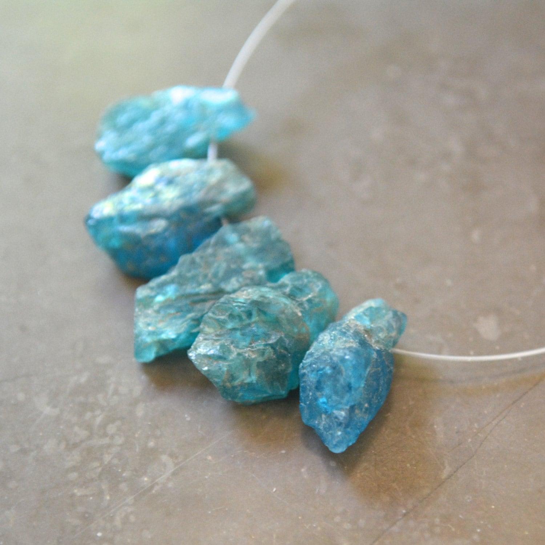 Neon Blue Apatite Natural Crystal Nugget Destash