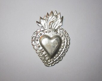 Silver ex voto Sacred Heart Milagro 1920-40 Large Size