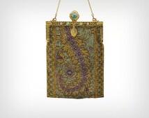 20s Purse // 1920's Beaded Handbag with Elaborate Jeweled Closure // Antique Flapper Gatsby Bag