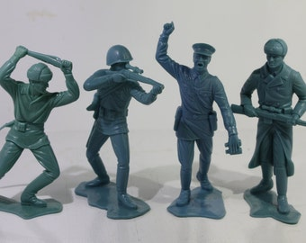 Four 1960's Plastimarx Blue Russian and American Action Figures -  Mexico